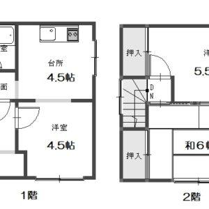 1階:洋室4.5帖/k4.5帖 2階:和室6帖/洋室5.5帖